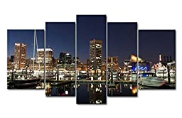 5 Piece Wall Art Painting Baltimore Harbor At Night Prints On Canvas The Picture City Pictures Oil For Home Modern Decoration Print Decor For Boys Bedroom