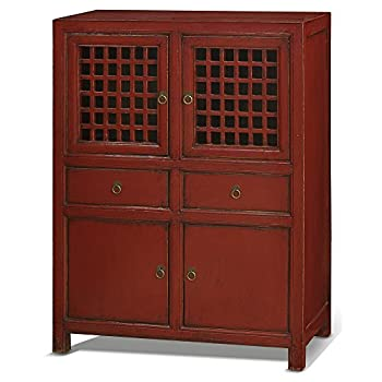China Furniture Online Elmwood Cabinet, Vintage Hand Crafted Ming Style Zen Cabinet Red