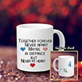 Long Distance Relationship Gift for Long Distance Couples, Friends, and Family Personalized Long Distance Coffee Mug Together Forever Never Apart Custom Ceramic Coffee Mug Cup Long Distance Love 11 OZ