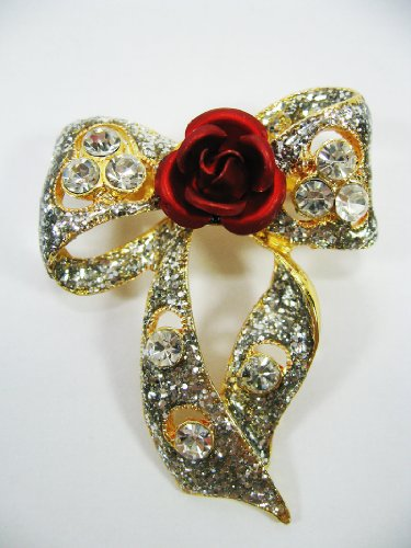 New Brooch Crystal Red Flower Cute Ribbon
