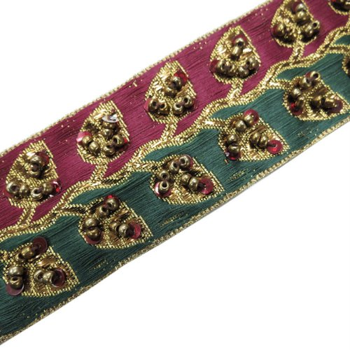 1 Yard Copper Sequin Beaded Craft Ribbon Lace Sewing