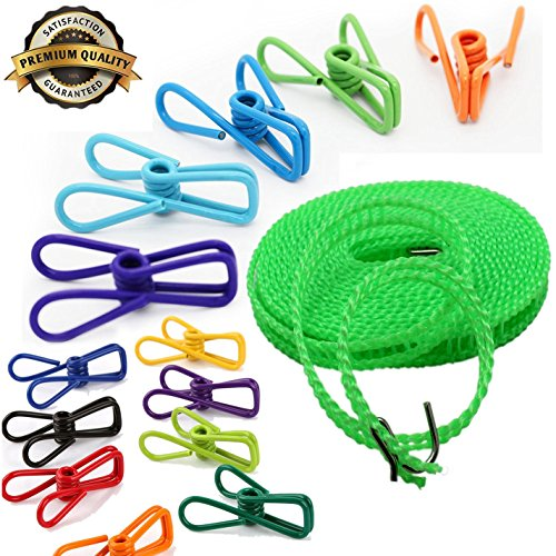 Stainless Steel Wire Clip Holders Assorted Colors, 5M Clothesline, 20Pcs Utility Clips and Hook with soft coated, Windproof Pins clip for Launtry, Beach, Book and Towel, LONGLIFE GREAT PERFORMANCE (Towel Clips Shark compare prices)