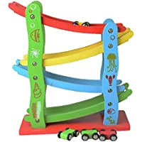 4 Layers Wooden Ramp Racing Set Kids Vehicle Playsets Kids Children Wood Toys