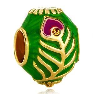 Pugster Green Against Golden Peacock Tail Topaz Crystal European Beads Fits Pandora Charm Bracelet