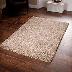 "Shaggy Rug Beige 963 Plain 5cm Thick Soft Pile 120cm x 170cm (4ft x 5ft 6"") Modern 100% Berclon Twist Fibre Non-Shed Polyproylene Heat Set - AVAILABLE IN 6 SIZES by Quality Linen and Towels by Quality Linen and Towels"