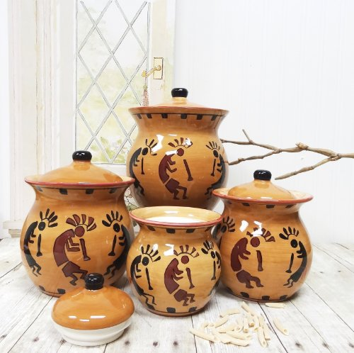 Western kokopelli hand painted ceramic 4pc canister set 83203 by ack new fr ebay - Western canisters for kitchen ...