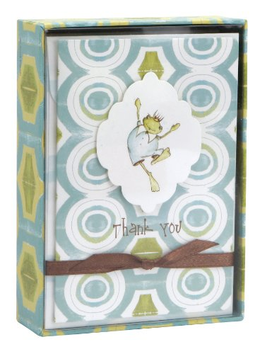 C.R. Gibson 10 Count Cid Pear Boxed Thank You Note Cards, Baby Frog front-930857