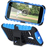 Fosmon HYBO-RAGGED Series Detachable Hybrid TPU + PC Kickstand Case for Motorola Moto G (1st Generation Only) / Motorola DVX (Blue)
