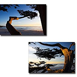 Carmel Sunset I & II by Alan Hausenflock 2-pc Premium Gallery Wrapped Canvas Giclee Art Set (Ready-to-Hang)