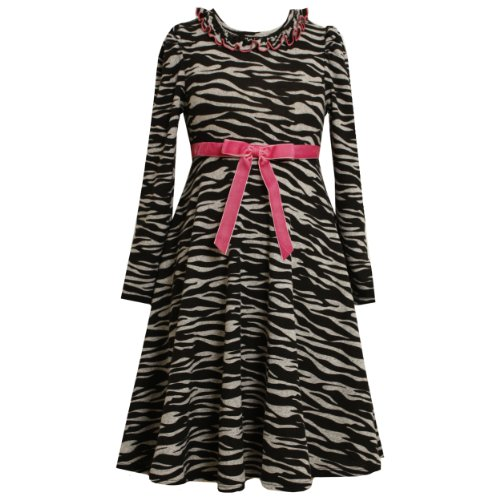 Size-14.5,BNJ-0059B GREY BLACK PINK FUZZY KNIT ZEBRA ANIMAL PRINT Special Occasion Girl Party Dress,B80059 Bonnie Jean Girl PLUS