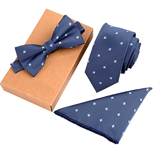 Mens Fashion Polyster Skinny Necktie and Bowtie Pocket Square 3pcs Set Valentine's Day Gifts 10