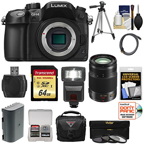 Panasonic Lumix Dmc-Gh4 4K Micro Four Thirds Digital Camera Body With 35-100Mm F/2.8 Lens + 64Gb Card + Battery + Case + Tripod + Flash + Filters Kit