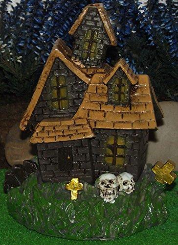 Juego de 3 embrujada diseñado por Lisa Parker, la casa extraña, la casa fantasma y los suburbios fantasmagóricos. Quemadores de incienso o para su utilización en jardines en miniatura.