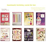 Assorted Handmade Embellished Birthday Cards Box Set 8 Pack Birthday Cards Bulk Birthday Birthday Card Assortment For Her Birthday Cards Assortment
