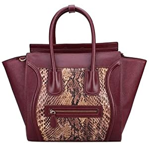 Fineplus Women's 100% Leather Embossed Snake Bats Phantom Smiling Face Tote Bag Wine-red