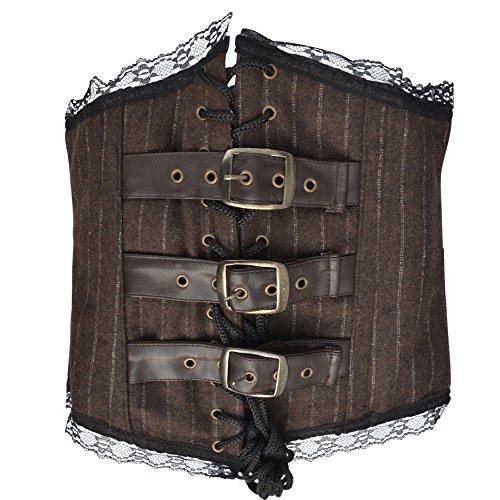 Zoelibat 53043841.279-Burlesque überbrust corsetto con 3fibbie riegeln e pizzo, colore: marrone/bianco Marrone Marrone / Bianco L