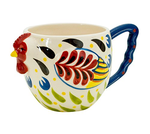Boston Warehouse Earthenware Mug, Colorful Rooster Design
