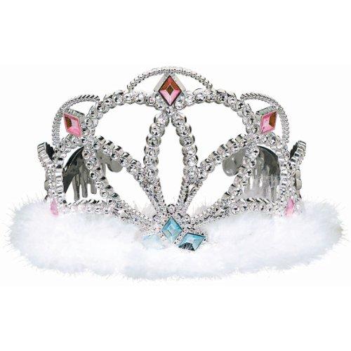 "Amscan Majestic Tiara Diamond Electroplated Plastic with Marabou, 3-1/2 x 4-1/2"", Silver"