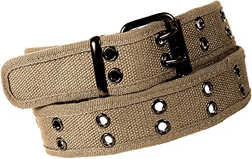 Enimay Designer Double Hole Canvas Belt Black Buckle Khaki Medium