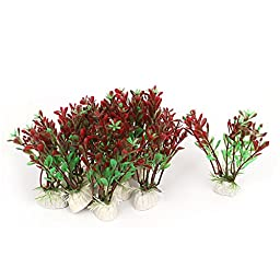 10Pcs Plastic Artificial Green Dark Red Water Plant Grass For Fish Tank