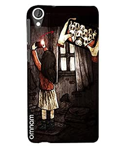 Omnam Girl Taking Selfie With Ghost Printed Designer Back Cover Case For HTC Desire 820