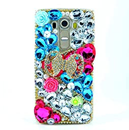 LG K7 Case, LG Tribute 5 Case, Sense-TE Luxurious Crystal 3D Handmade Sparkle Diamond Rhinestone Clear Cover with Retro Bowknot Anti Dust Plug - Bowknot Flowers / Blue&Red&White