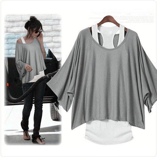 Gleader Donna Top T-shirt di pipistrello 2 in 1 nuovo stile caldo allentato camicette UK 8-18-XXL (grigio)