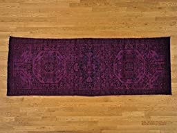 3\'x9\' Purple Runner Worn Overdyed Persian Hamadan Hand Knotted Oriental Rug G20946