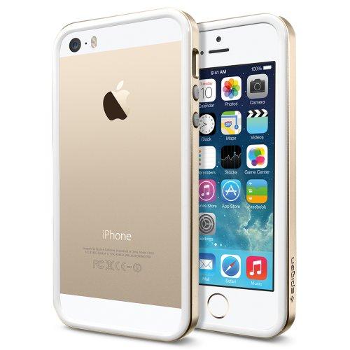 国内正規品 二重構造・バンパー Spigen iPhone 5s / 5 ケース ネオ・ハイブリッド EX スリム メタルシリーズ (両面保護フィルム同梱) [シャンパンゴールド] SGP10605