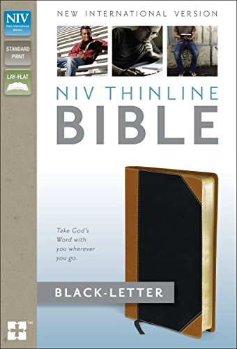 Holy Bible: NIV Tan/Black Italian Duo-Tone Thinline