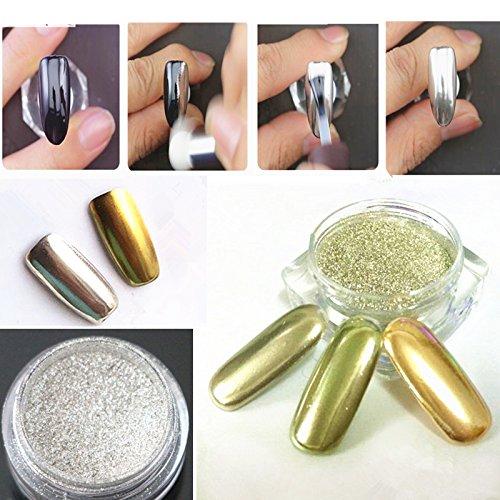 Gnrique-2-Pots-Poudre-Effet-Miroir-Or-Argent-Scintillement-Nail-Art-Manucure