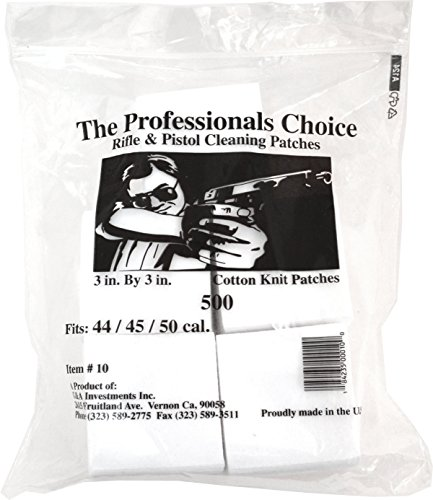 """Great Deal! Professional's Choice Gun Cleaning Patches (500 Pack) Cotton Knit  - 3"""" Square, .44..."""