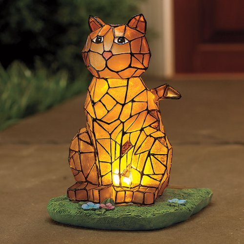 3 dimensional mosaic solar cat for lawn garden decor for Lawn and garden decorative accessories