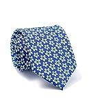 Savile Row Men's Blue White Floral Print Silk Tie