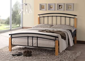Thiago Contemporary Wooden Beech and Black Metal Bed Frame Bedroom Furniture (4FT Small Double) by Grand Furniture