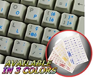 ITALIAN KEYBOARD STICKER WITH BLUE LETTERING TRANSPARENT BACKGROUND FOR DESKTOP, LAPTOP AND NOTEBOOK