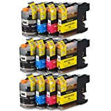 12 XL ColourDirect LC127XL / LC125XL Ink Cartridges With Chip For Brother DCP-J4110DW MFC-J4410DW MFC-J4510DW MFC-J4610DW MFC-J4710DW Impresoras