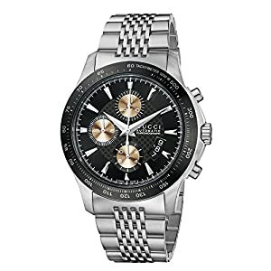 Gucci G-Timeless Collection Men's Automatic Watch with Black Dial Chronograph Display and Stainless Steel Bracelet YA126214