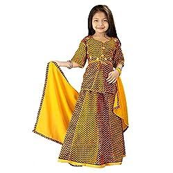 Indiangiftemporium Yellow Zigzag Rajasthani Design Lehenga Kurti Set 106C-30