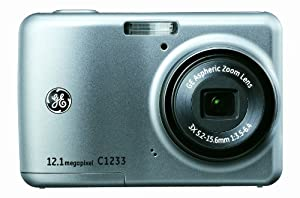 GE C1233 12MP Digital Camera with 3X Optical Zoom and 2.4 Inch LCD with Auto Brightness (Silver)