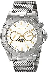 """Invicta Men's 10595 """"Pro Diver"""" Stainless Steel Watch with Mesh and Link Bracelet"""