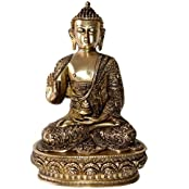 Blessing Lord Buddha Brass Statue In Antique Finish- Handmade Craft For Gift- 12 Inch In Height