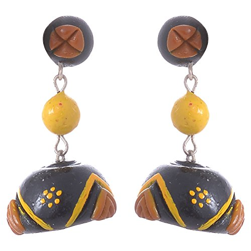 LittleFingers Air Dry Clay Medium Size Jumka In Yellow And Black (multicolor)