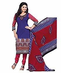 Aarti Apparels Women's Cotton Unstitched Dress Material_BeautyQueen-17_Red and Blue