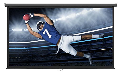 "VonHaus 100"" 16:9 Widescreen Manual Projection Screen in White - Home Theater/Cinema or Presentation Platform 16:9 Aspect Ratio Suitable for HDTV"