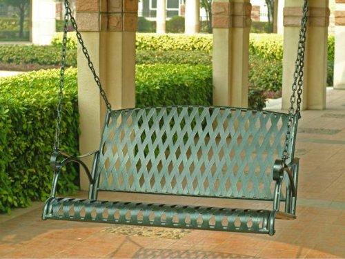 Diamond Lattice Iron Outdoor Porch Swing