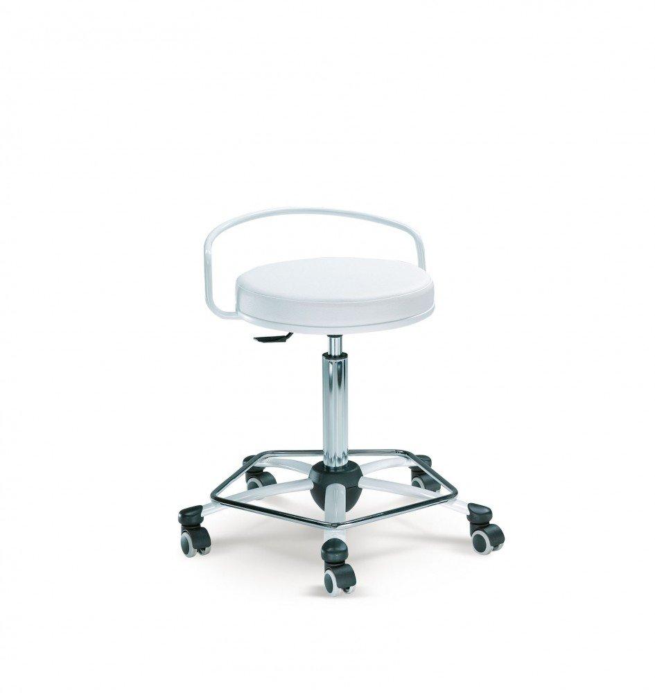 Mayer Sitzmöbel Drehrollhocker Arbeitsdrehhocker 1254 Gestell weiß Sitz rund gepolstert Bezug Stoff oder Kunstleder Bezug 26369