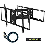 """Cheetah Mounts APDAM2B Articulating Dual Arm TV Wall Mount Bracket with Full Motion Tilt and Swivel for 32-65"""" LCD, LED, Plasma, Flat Screen Monitors and Displays Up to VESA 684x400 and 165lbs, Including a Free Twisted Veins 10' HDMI Cable and 6"""" Level ~ Cheetah"""