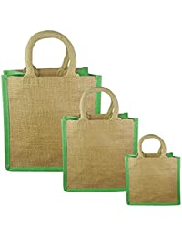 JO'S Jute Bag For Grocery,Shopping,Lunch Bag,Gift Bag ,Multi Purpose Bag (Small,Medium & Large) (Neon Green)