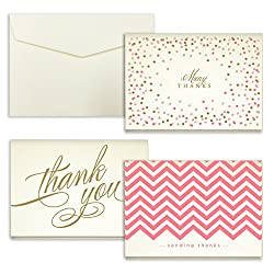 """Coral Assortment Folded Thank You Cards - Pack of 24 - 5"""" x 3.5"""" from Merchants"""